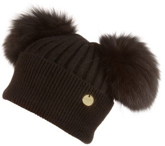 Popski London Double Angora Fur Pom Pom Hat Black With Black