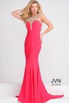 Jovani Fitted Embellished Neckline Sheer Back Dress JVN48834