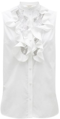 Alexander McQueen Ruffled And Lace-bib Cotton-poplin Top - White