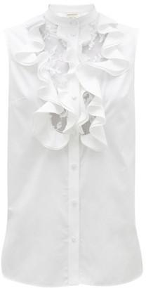 Alexander McQueen Ruffled And Lace-bib Cotton-poplin Top - Womens - White