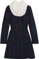 Miu Miu Guipure Lace-paneled Checked Wool Mini Dress - Navy
