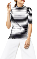 Warehouse Ribbed Polo Top, Blue Stripe