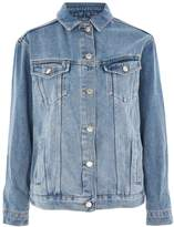 Topshop MOTO Floral & Stud Motif Denim Jacket