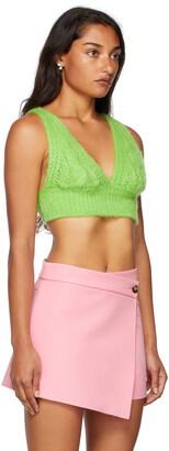 MSGM Green Cable Knit Bra