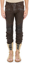 Balmain MEN'S WAXED-DENIM MOTO JEANS