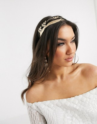 Gardenia ASOS DESIGN double row headband with leaf embellishment in gold tone