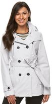 Women's Sebby Collection Hooded Short Soft Shell Trench Raincoat
