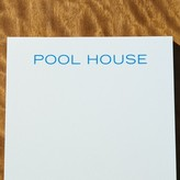 "The Well Appointed House Bone White Note Pad with Blue ""Pool House"" Text - IN STOCK IN OUR GREENWICH STORE FOR QUICK SHIPPING"