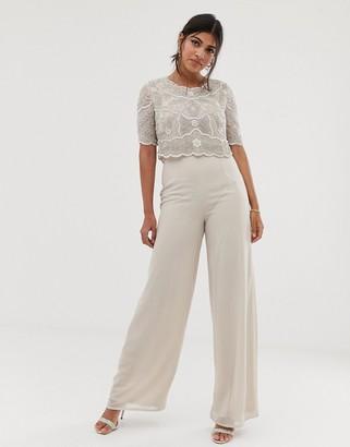 BEIGE Amelia Rose embellished wide leg jumpsuit in soft