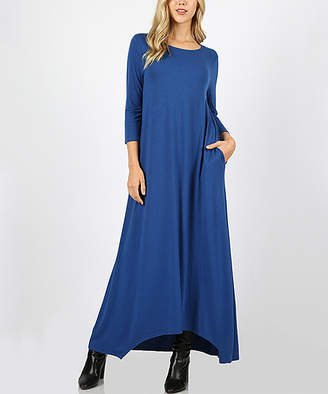 Lydiane Women's Maxi Dresses SAPPHIRE - Sapphire Three-Quarter Sleeve Pocket Maxi Dress - Women