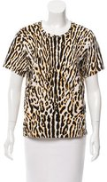 Maje Leopard Print Short Sleeve Top