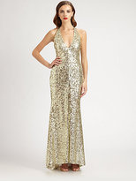 Mark & James by Badgley Mischka by Badgley Mischka Sequined Halter Gown