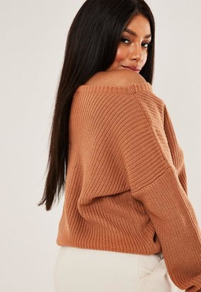 Missguided Plus Size Brown Off The Shoulder Knit Sweater