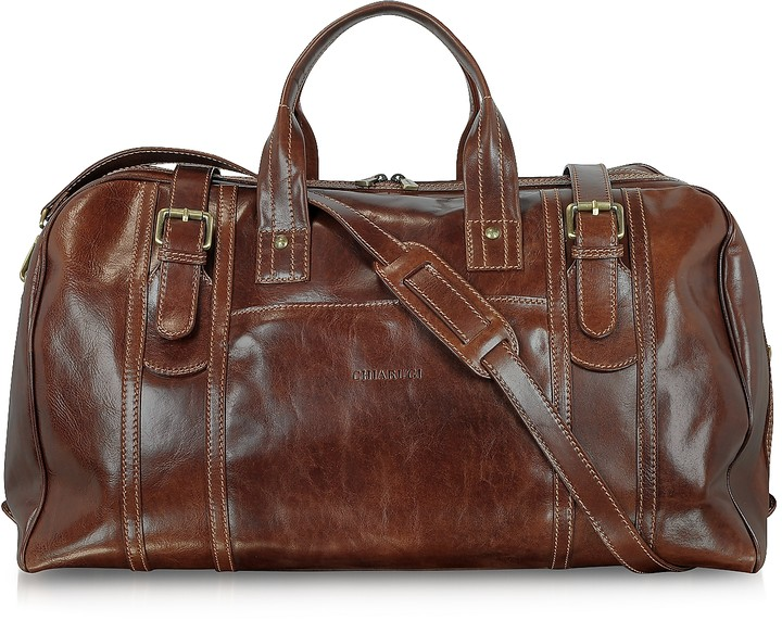 Chiarugi Large Brown Italian Leather Holdall Bag Travel Bag
