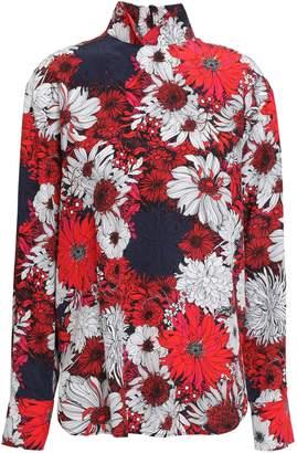 Cédric Charlier Floral-print Silk Turtleneck Blouse
