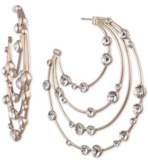 """Givenchy Gold-Tone Crystal Large Layered Hoop Earrings 2-4/5"""""""