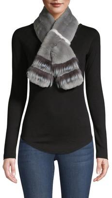 Adrienne Landau Fox Fur Shell & Rabbit Fur Trim Scarf