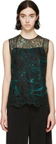 Erdem Green Organza Embroidered Naomi Top