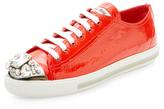 Miu Miu Embellished Cap-Top Leather Sneaker