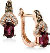 LeVian Le Vian Chocolatier® Raspberry Rhodolite® Garnet (1 ct. t.w.) and Diamond (1/5 ct. t.w.) Lever Back Hoop Earrings in 14k Rose Gold