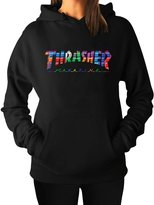 LLEMANU Hoodie Women's Thrasher Color Block Hoodie Sweatshirts XXL Printed
