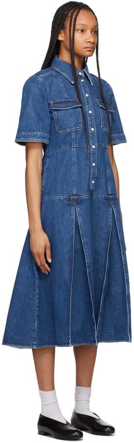 Thumbnail for your product : Wales Bonner Blue Denim Saint Catherine Shirt Dress