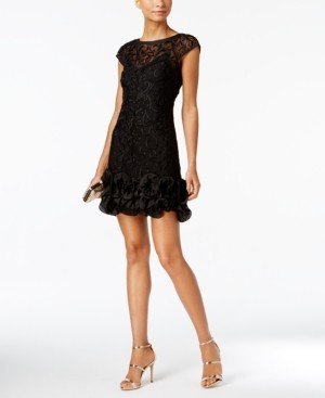 GUESS Floral-Lace Ruffled-Hem Sheath
