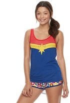 Juniors' Pajamas: Captain Marvel Tank & Shorts PJ Set