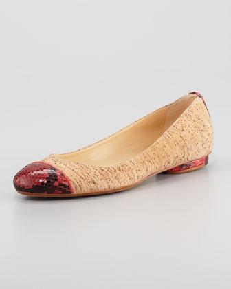 Alexandre Birman Python-Cap Cork Ballerina Flat, Red