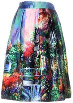 Acme Women's High Waist A-Line Pleated Skirts Print OL Party Midi Dress
