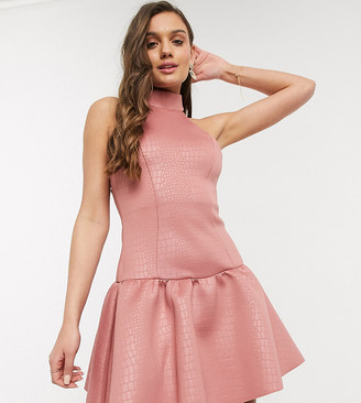 ASOS DESIGN Petite high neck embossed mini skater dress in dark pink