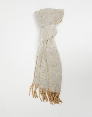 ASOS DESIGN fluffy tassel scarf in camel marl