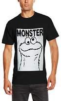 Sesame Street Men's Cookie Monster Rectangle Plain Short Sleeve T-Shirt, (Manufacturer Size:)