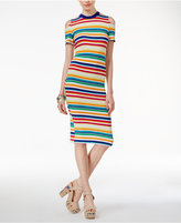 The Edit By Seventeen Juniors' Rainbow-Stripe Cold-Shoulder Bodycon Dress, Only at Macy's