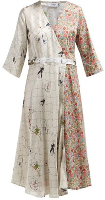 La Prestic Ouiston Square Abstract And Floral-print Silk Wrap Dress - Pink Multi