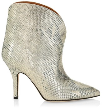 Paris Texas Lame Python-Embossed Leather Ankle Boots