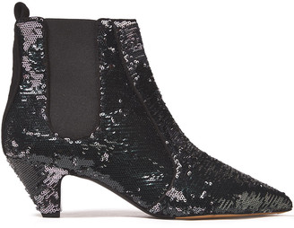 Tabitha Simmons Effie Sequined Leather Ankle Boots