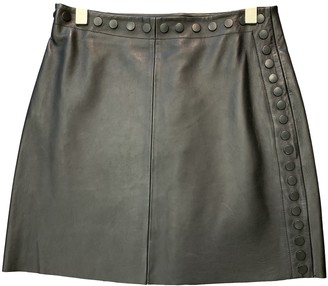 Hotel Particulier Black Leather Skirt for Women