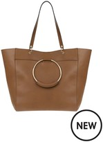 Accessorize Tan Metal Ring Tote Bag