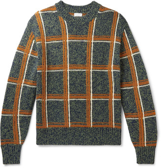Dries Van Noten Oversized Checked Melange Merino Wool-Blend Sweater