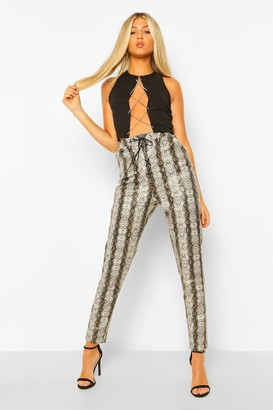 boohoo Tall Leather Look Snake Print Lace Up Skinny Trouser