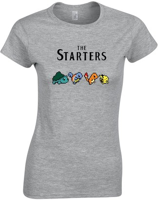 Crown Designs The Starters Abbey Road Beatles Album Style Pocket Monsters Inspired Gift for Women & Teenagers Fitted T-Shirts Tops - Grey/XL - 12/14