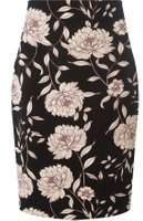 Dorothy Perkins Womens Black and Blush Floral Print Pencil Skirt