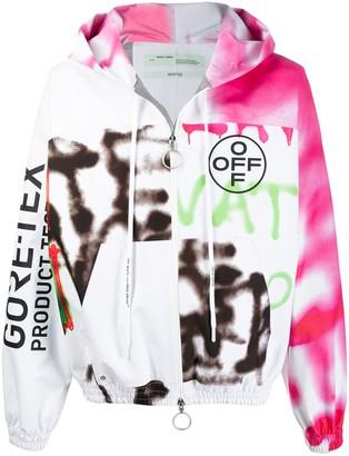 Off-White Goretex graffiti zip-up hooded jacket