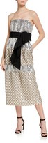 Carolina Herrera Embroidered Silk Strapless Dress