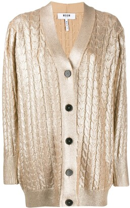 MSGM Metallic Sheen Knitted Cardigan