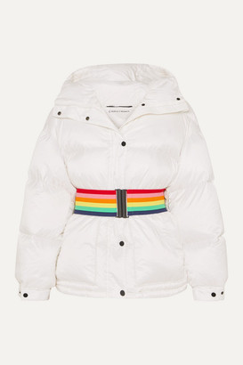 Perfect Moment Belted Hooded Quilted Down Ski Jacket - White