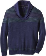 Nautica Men's Big-Tall Fairisle Shawl Collar Sweater