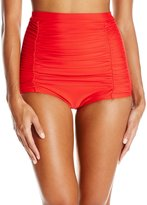 Unique Vintage Women's Classic High Waist Ruched Monroe Bikini Bottom