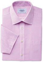 Charles Tyrwhitt Slim Fit Non-Iron Short Sleeve Dobby Check Pink Cotton Dress Shirt Size 15/Short